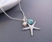 Starfish Necklace, Silver Sea Star with Pearl and Turquoise Dangle, Pendant Necklace, Beach Wedding, Bridesmaids Gift, Modern Jewelry