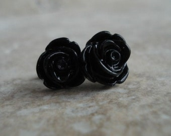 Black Rose Earrings, Flowers on Stainless Steel Posts, Post Earrings, Rose Jewelry, Halloween Earrings, Stud Earrings, Halloween Jewelry
