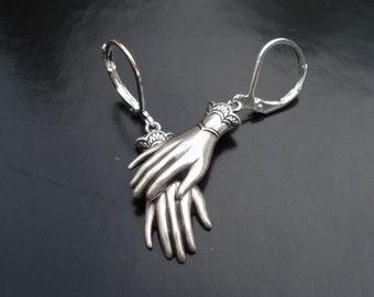 Hand Earrings, Silver Drop Earrings, Unusual Jewelry, Macabre Jewelry,  Dangle Earrings, Statement Earrings, Halloween Earrings, Victorian