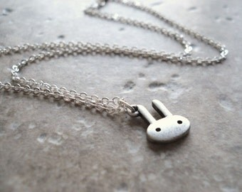 Bunny Necklace, Silver Rabbit Charm, Pendant Necklace, Cute, Geekery,  Petite Jewelry
