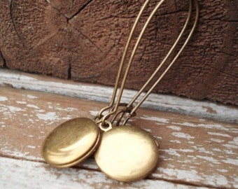 Locket Earrings, Vintage Brass Round Lockets,  Dangle Earrings, Kidney Ear Wires, Everyday Jewelry