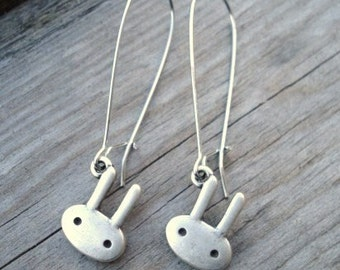 Bunny Earrings, Silver Rabbit Charms on Elongated Kidney Ear Wires, Rabbit Jewelry, Kawaii, Dangle Earrings