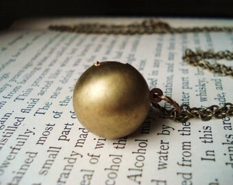 Ball Locket Necklace, Vintage Brass Sphere on Extra Long Chain, Long Locket, Geometric Necklace, Pendant Necklace, Layering Jewelry