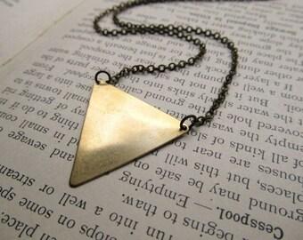 Triangle Necklace, Brass Triangle Pendant, Geometric Necklace, Pendant Necklace, Pennant Jewelry, Back to School, Geekery, Geometric Jewelry
