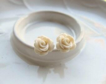 Ivory Rose Earrings, Off White Flowers on Stainless Steel Posts, Stud Earrings, Rose Jewelry