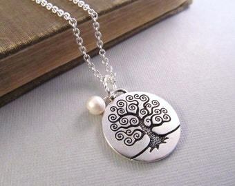 Tree of Life Necklace, Silver Pendant with Pearl Charm, Pendant Necklace, Personalized Jewelry, Birthstone Necklace