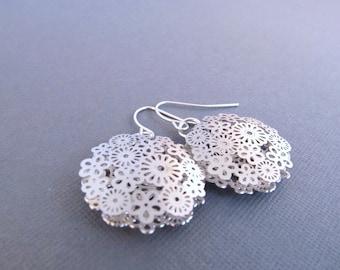 Silver Dangle Earrings, Flower Filigree, Circle Shaped, Flower Earrings, Gift for Her