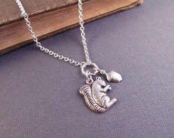 Squirrel Necklace, Silver Charm Necklace, Acorn, Autumn, Pendant Necklace, Fall Jewelry