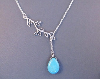 Turquoise Blue Necklace, Silver Branch Lariat, Bridesmaid Jewelry, Lariat Necklace, Branch Necklace, Teardrop Lariat