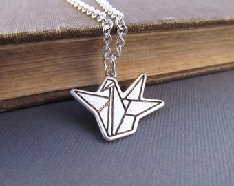 Paper Crane Necklace, Silver Origami Charm, Pendant Necklace, Good Luck Jewelry