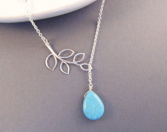 Turquoise Teardrop Necklace, Silver Branch Necklace, Lariat  Necklace, Turquoise Necklace, Branch Lariat Necklace, Teardrop Lariat Necklace