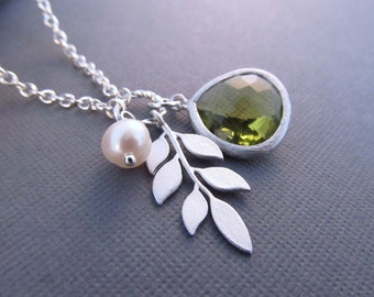 Birthstone Necklace, Leafy Branch, Pearl and Jewel in Your Choice of Color, Bridesmaid Necklace, Fall Wedding, Branch Necklace, Jewelry Gif