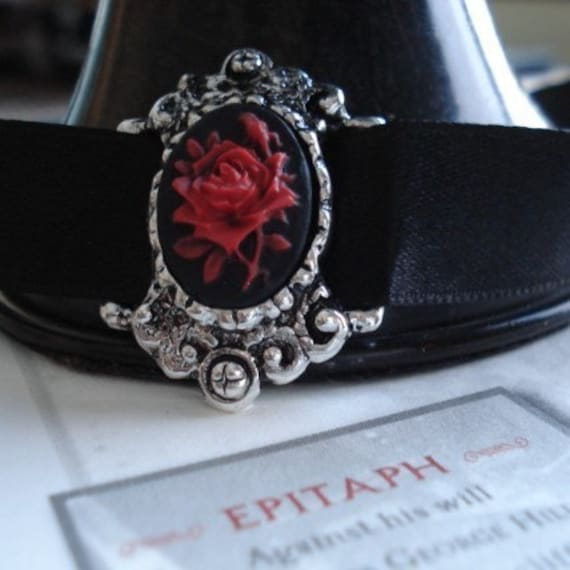 Cameo Necklace, Black Satin and Silver Choker, Red Rose, Halloween, Gothic Jewelry