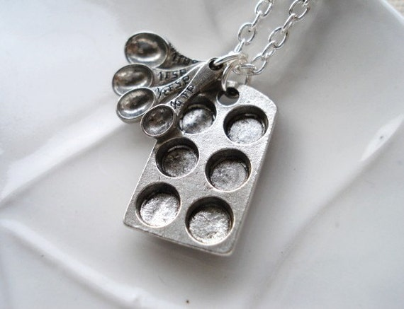 Bakers Necklace, Silver Muffin Pan and Measuring Spoon Charms, Pendant Necklace, Gift for Mom, Cooking Jewelry,