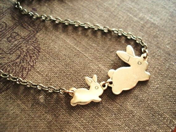Bunny Necklace, Rabbit Necklace in Brass, Mother and Child Necklace for 1-6 Kids, Mom and Baby Jewelry, Rabbit Jewelry, Easter Necklace