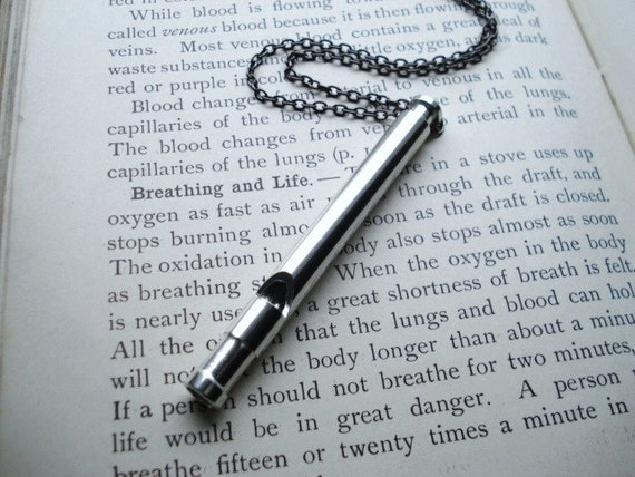 Whistle Necklace -- Silver Working Whistle on Long Gunmetal Chain -- Whistlin'