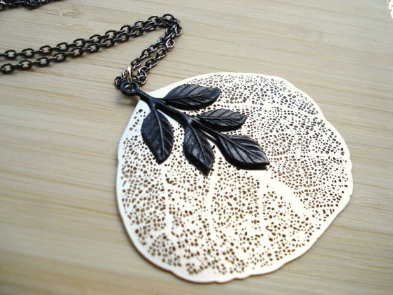 Leaf Necklace -- Silver and Black Leaves on Long Gunmetal Chain -- Clearance, was 23