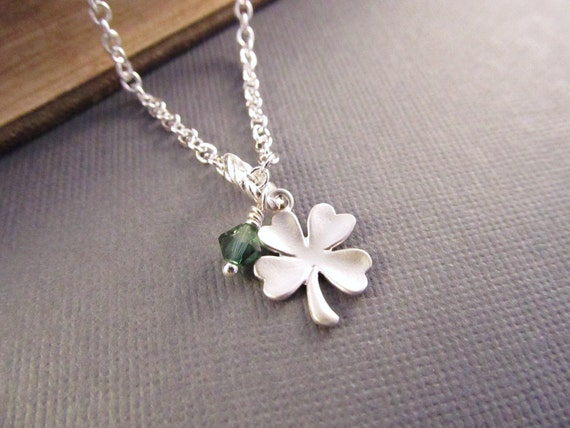 Four Leaf Clover Necklace, Silver Shamrock with Green, Lucky Charm, Good Luck Jewelry, Luck Necklace, Graduation Gift, Graduate Necklace