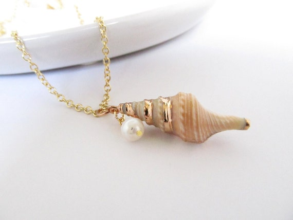 Shell Necklace, Natural Seashell with Freshwater Pearl, Beach Wedding Jewelry