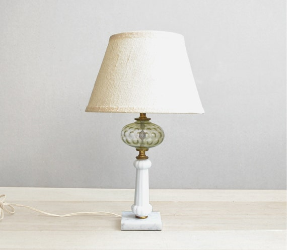 SALE Marble & Glass Vintage Lamp