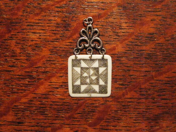 QUILT block Pendant necklace Scrimshaw Ivory by LGBoriginals on ETSY.