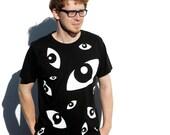 Eyes organic T shirt - boys, black, medium
