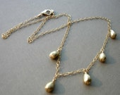 Golden teardrop briolette and goldfilled chain necklace