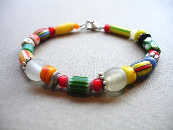 African trade bead and Bali silver bracelet