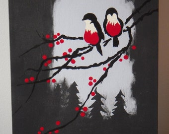 Winter Birds, original acrylic painting on canvas, red and black, grey, berries, woods, trees, silhouette, forest, snow, tree branch