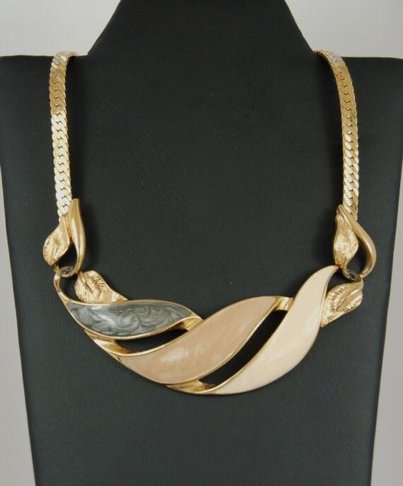 Reserved For Neta Trifari Enamel Leaf Necklace