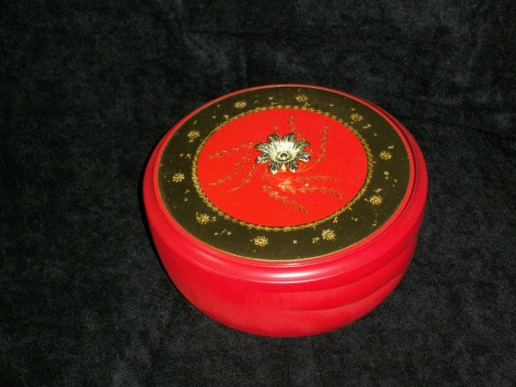 """Vintage Avon Red and Gold Glass Powder Dish New in Box  """"Persian Wood Beauty Dust'"""
