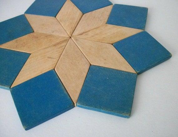 Vintage Wooden Star Trivet Pot Holder Blue Made in Germany