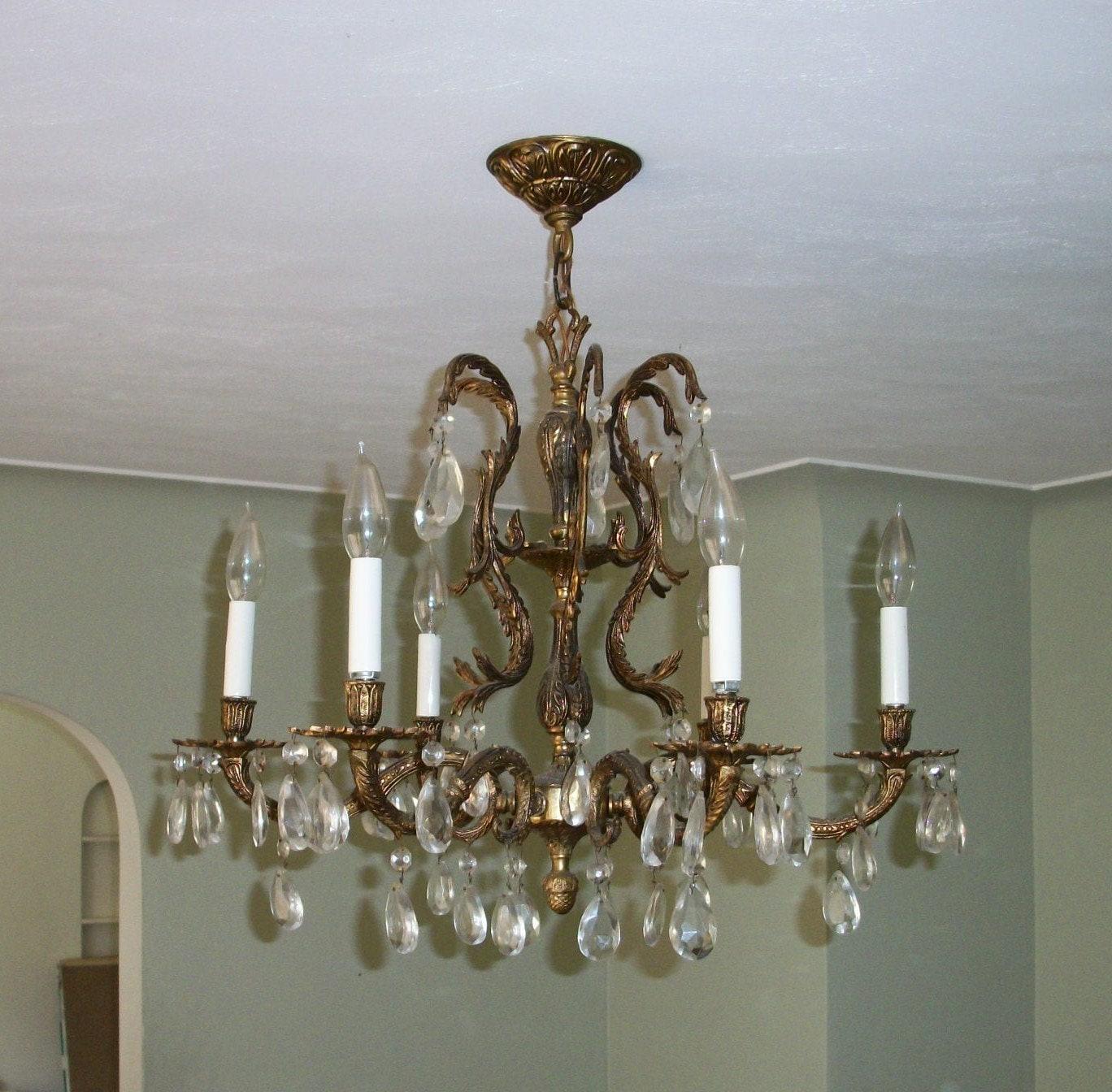 Vintage Brass Candelabra Chandelier Six light Pendant Ceiling
