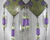 Handmade Floral Celtic Design Etched Copper Dangle Earrings