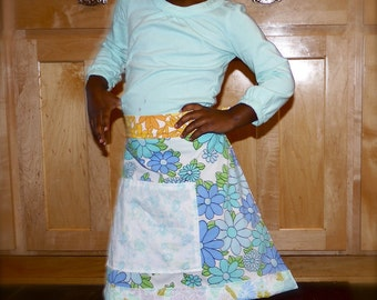 Blue Daisy Chain Upcycled Child-Size Apron
