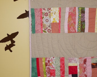 Scrappy Girl Baby Quilt. Custom Made.  Hand quilted. OOAK.  Ready to Ship