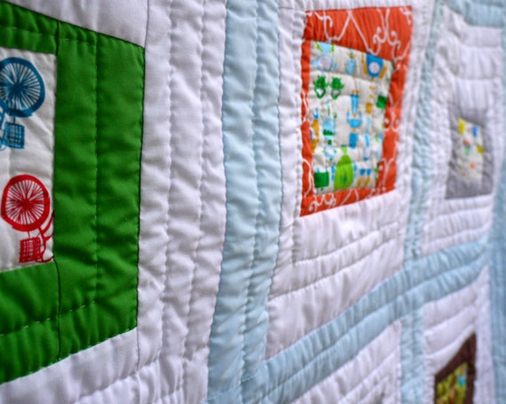 SALE.  20% OFF. Baby Boy Quilt.  Looking Out My Window.  Custom Made and hand quilted OOAK