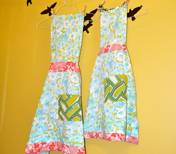 Mother & Daughter Matching full size aprons.  Ready to Ship. 100% Recycled Fabrics