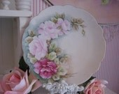 TREAURY ITEM, Hand Painted Pink and Raspberry Pink Rose Vintage Plate,  ECS