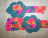 crocheted headbands with flowers all sizes tye dye you choose colors