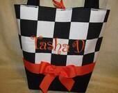 Checkered black and white purse racing checkered flag back white checks  purse/ tote/ handbag/ you choose ribbon color and name/initials