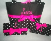 Dots purse set black white dots and hot pink purse with wallet & checkbook cover you choose 1 name and initial