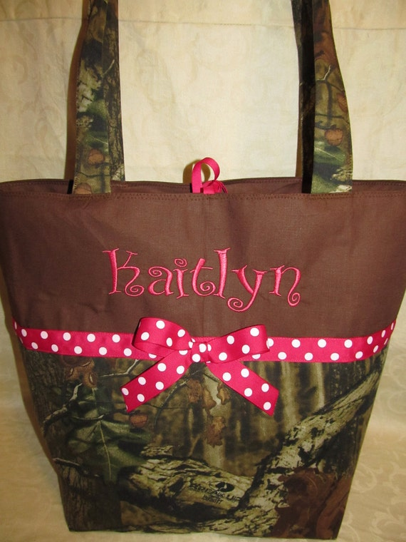 Mossy oak camo diaper bag Mossy Oak hot pink and dots diaper bag, tote, toddler tote, travel bag, you choose name