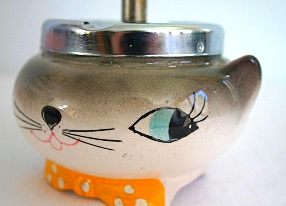 Reserved for PAUL - The Cat's Meow - Vintage Cozy Kitten Plunger Ashtray 1950s