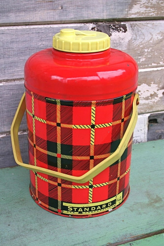 Vintage Red Plaid Metal Drink Cooler