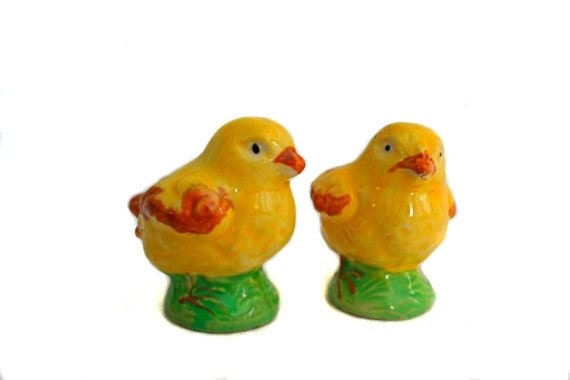 RESERVED for Marianne - Vintage Yellow Chick Salt and Pepper Shakers