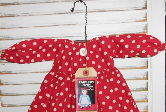 Handmade Primitive Decorative Raggedy Annie Doll dress with Raggedy Ann Stories Tag and Hanger Red and White Polka dots fabric