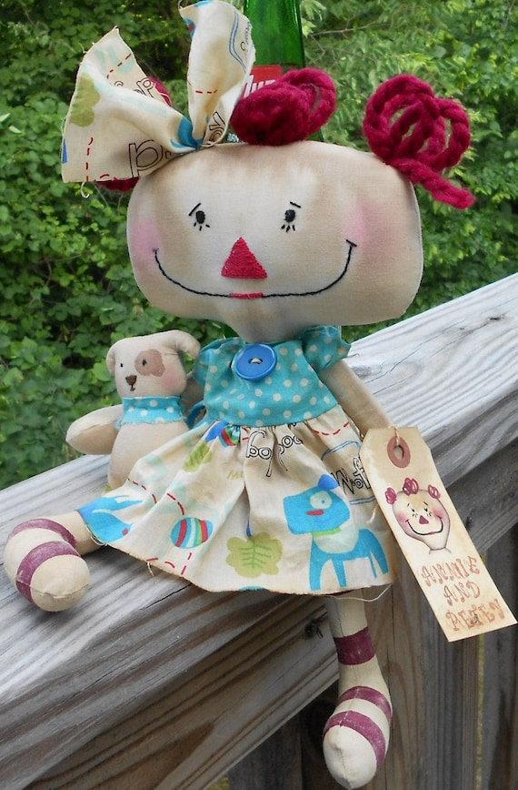 Annie and Petey Handmade Primitive Raggedy Ann Annie Doll and her Puppy dog with tag