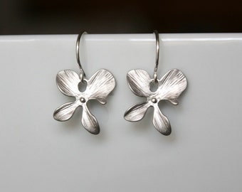 Four petals orchid earrings - Sterling Silver ear wires