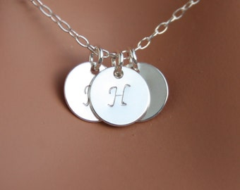 Family Initials Necklace, THREE Monogram Disks - All Sterling silver,  Mom necklace. You can make your choice Style of Disk, Personal gift